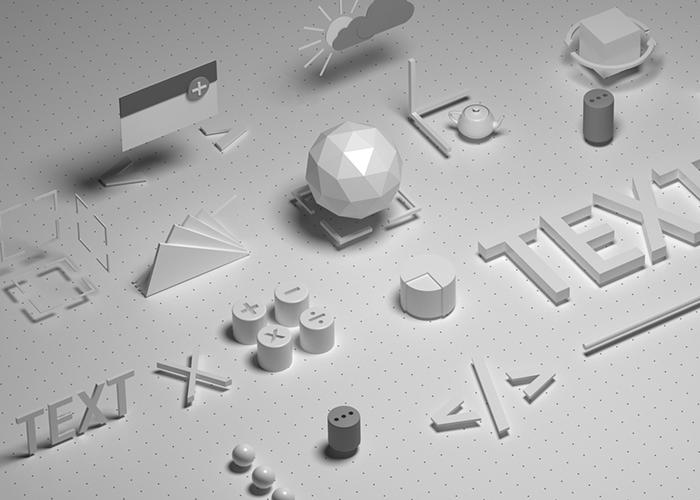 3D примитивы миниатюра для портфолио